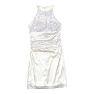 NWT White Sequin high neck mini NYE dress